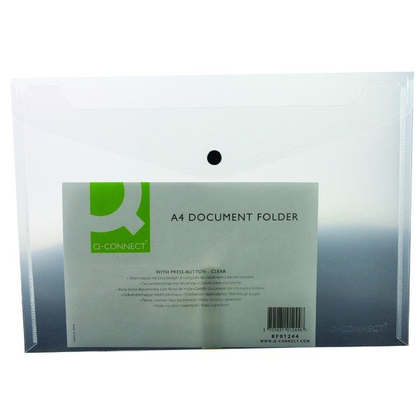 50 x A4 Stud Wallet Folder Clear Plastic Document Holder File With Press Stud